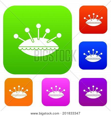 Pillow with needles set icon in different colors isolated vector illustration. Premium collection