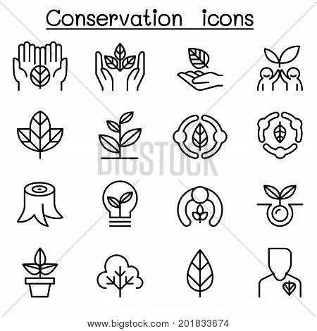 Eco friendly & Conservation icon set in thin line style