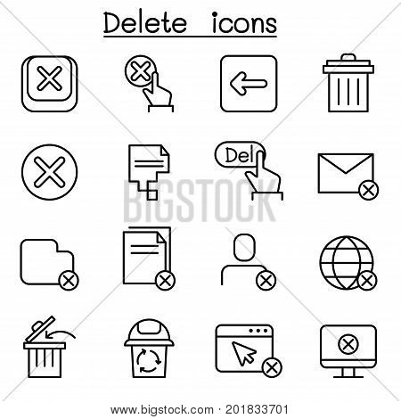 Delete icon set in thin line style