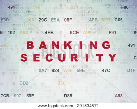 Privacy concept: Painted red text Banking Security on Digital Data Paper background with Hexadecimal Code