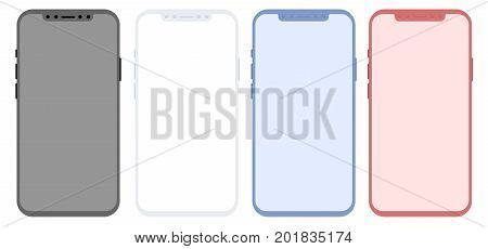 Conceptual modern phone, mock up, isolated on white background. Concept smart phone for design applications.