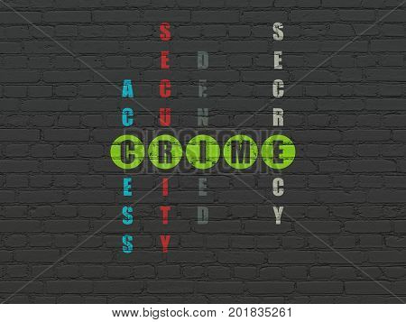 Protection concept: Painted green word Crime in solving Crossword Puzzle