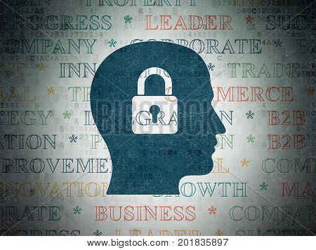 Business concept: Painted blue Head With Padlock icon on Digital Data Paper background with  Tag Cloud