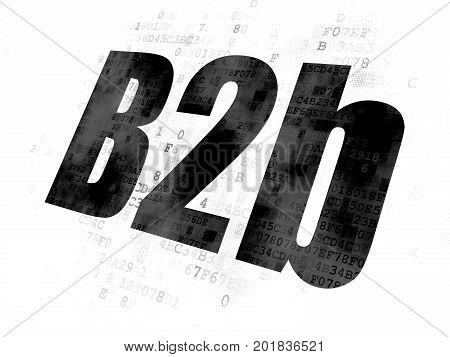 Finance concept: Pixelated black text B2b on Digital background