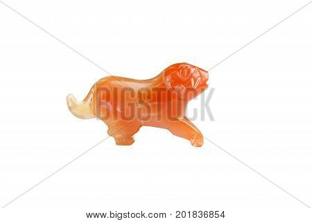 Valuable precious Carnelian Pyu tiger ancient bead isolated on white background