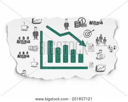 Finance concept: Painted green Decline Graph icon on Torn Paper background with  Hand Drawn Business Icons