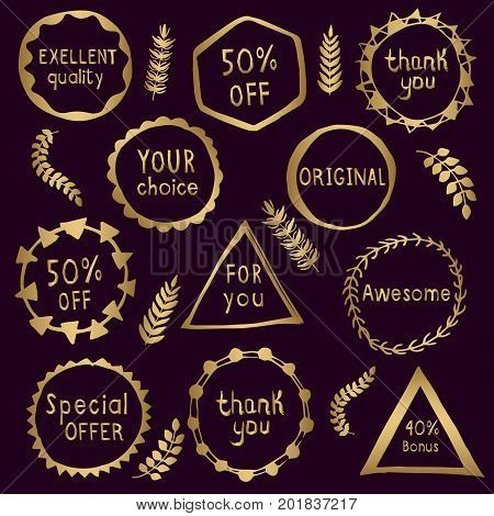 Collection of abstract gold badges. Set of hand drawn vector labels in a gold. Original design element for website, sales, original goods.
