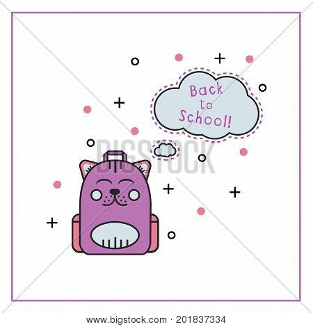 Cute kitty backpack flat line icon with speech bubble shape and text back to school. Kid knapsack in cartoon style. Template for ad and card. Vector illustration on white isolated background.
