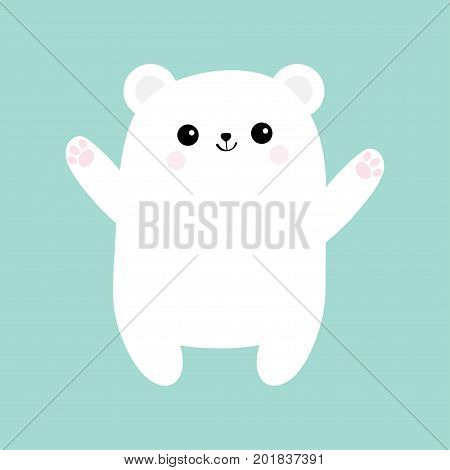 Polar white small little bear cub. Reaching for a hug. Cute cartoon baby character icon. Open hand ready for a hugging. Arctic animal collection. Flat design. Winter blue background. Isolated. Vector