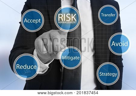 Businessman Touching Virtual Risk Management