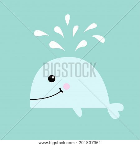 White whale with water fountain. Sea ocean life. Cute cartoon character with eyes tail fin. Smiling face. Kids baby animal collection. Flat design Blue background Isolated. Vector illustration