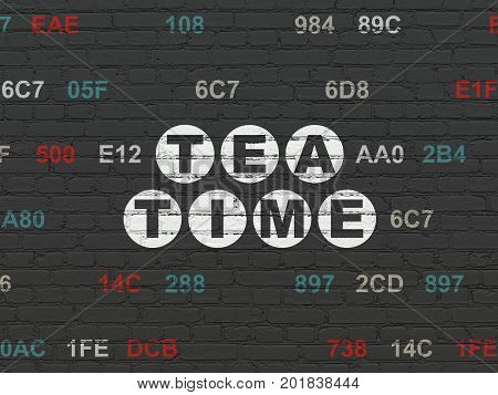Timeline concept: Painted white text Tea Time on Black Brick wall background with Hexadecimal Code