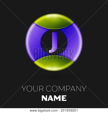 Realistic Letter J vector logo symbol in the colorful circle on black background. Vector template for your design
