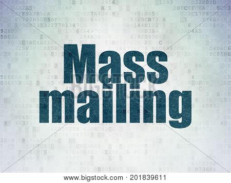 Marketing concept: Painted blue word Mass Mailing on Digital Data Paper background