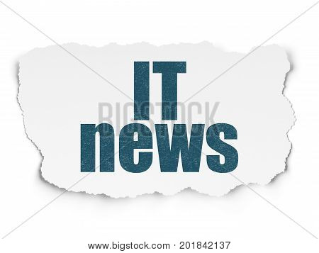 News concept: Painted blue text IT News on Torn Paper background with Scheme Of Hand Drawn News Icons