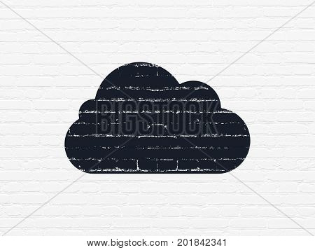 Cloud computing concept: Painted black Cloud icon on White Brick wall background