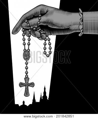 Catholic publication teamplate design with woman's hand holding prayer beads. Vintage engraving stylized drawing