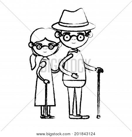 blurred silhouette of full body elderly couple in walking stick grandmother side ponytail hairstyle in dress and grandfather with hat and glasses vector illustration