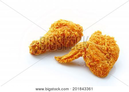 Group of fried chicken isolated on a white background.