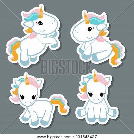 Collection cartoon unicorn stickers. Unicorns made in cartoon style.