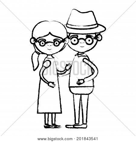 blurred silhouette of full body couple elderly of grandmother with ponytail side hair in dress with grandfather with hat and glasses vector illustration