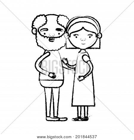blurred silhouette of full body couple elderly of bearded grandfather with grandmother with bow lace and straight hair in dress vector illustration