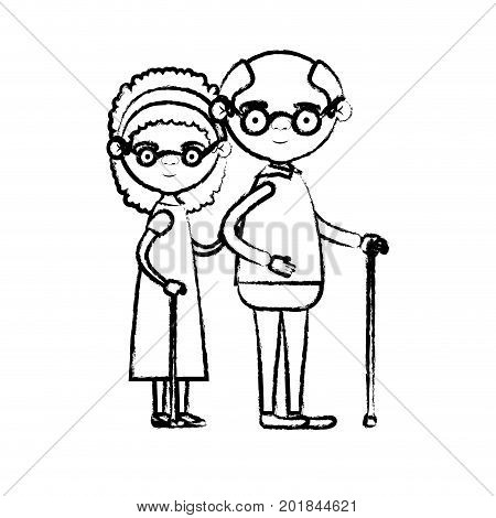blurred silhouette of full body couple elderly of grandmother with curly hair in dress and bald grandfather with glasses in walking stick vector illustration