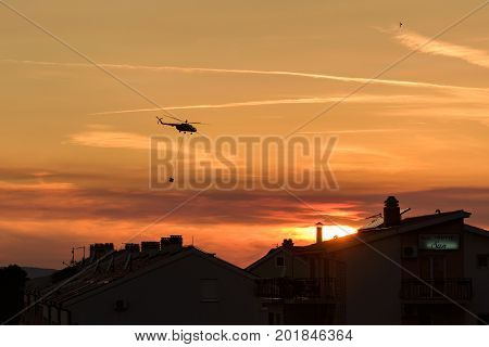 Promajna, Biokovo, Croatia, 24. August 2017 - Sunset, Firefighting On Biokovo By Hrz-a Helicopter