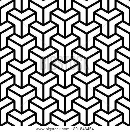 Abstract 3d cubes geometric seamless pattern in black and white, vector background