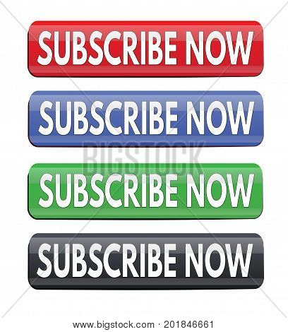 Subscribe Now Square Website Glossy Buttons
