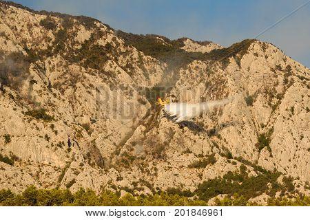 Promajna, Biokovo, Croatia, 24. August 2017 - Firefighting On Biokovo By Canadair Cl-415