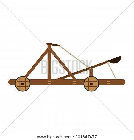 Catapult vector medieval icon illustration isolated wooden old war white weapon ancient cartoon siege
