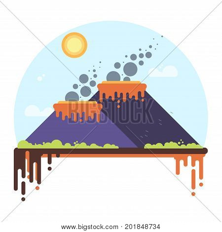 Two Smoking Volcanoes. Flat Style Vector Illustration