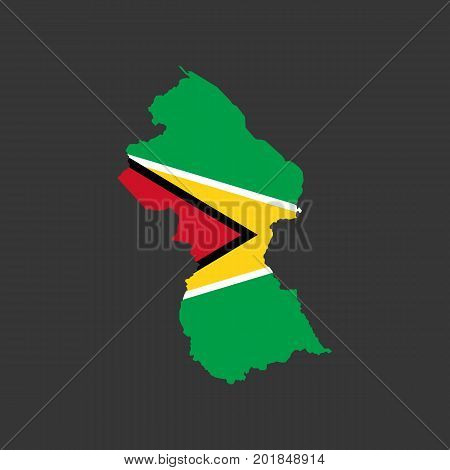 Guyana flag and map on the grey background. Vector illustration