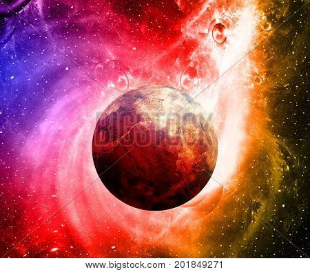 3D Illustration Artwork Of Space With Planets And  Nebulas