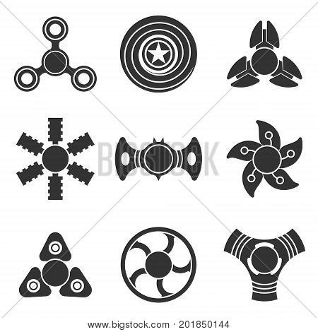 Extra style hand fidget spinner toy vector shape silhouette icon set. Stress and anxiety relief. Colorful illustrations, logo design