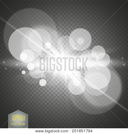 White glowing light burst explosion with transparent. Vector illustration for cool effect decoration with ray sparkles. Bright star. Transparent shine gradient glitter, bright flare. Glare texture. Vector