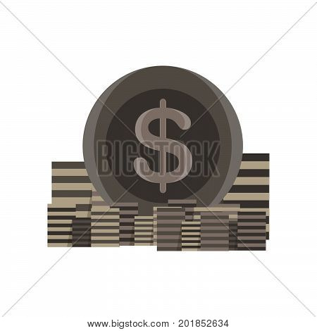 Icon coin stack vector money gold bank sign finance currency illustration business