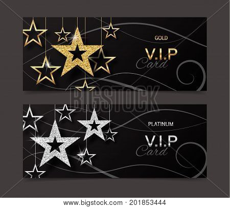 VIP golden and platinum card template with shiny stars. Vector illustration
