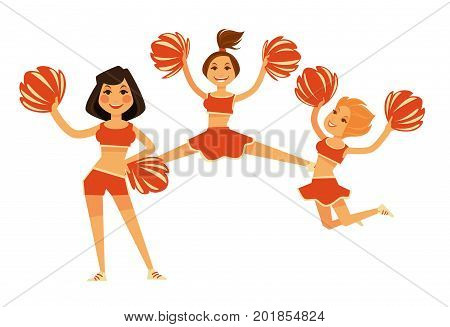 Cheerleaders girls performing with cheerleading pompom garment accessory. Girls team in red sport fan club bikini. Vector flat isolated people icons