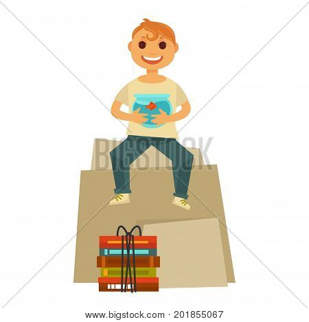 Home move and boy child sitting on carton box with books pack and holding aquarium happy for new house or apartment moving. Vector flat icon