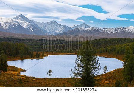 autumn lake in mountains. Altai Russia