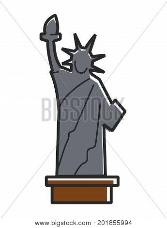 Vector illustration of minimal gray colored Statue of liberty isoalted on white.