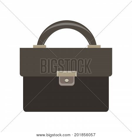 Briefcase icon vector business bag black case design diplomat document isolated lock white