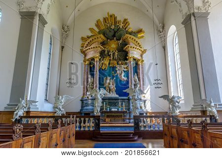 COPENHAGEN, DENMARK - June 27, 2016: The beautifully decorated altar insede of Our Saviour's Church in Copenhagen Denmark