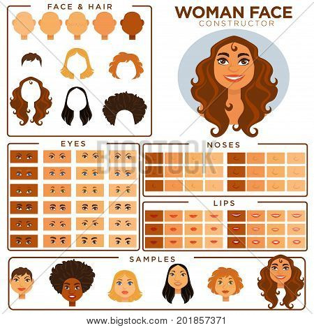 Woman face avatar constructor templates of female skin, haircut and make-up types, eyes or hair color, nose and lips elements match samples. Vector isolated woman face profile flat icons set