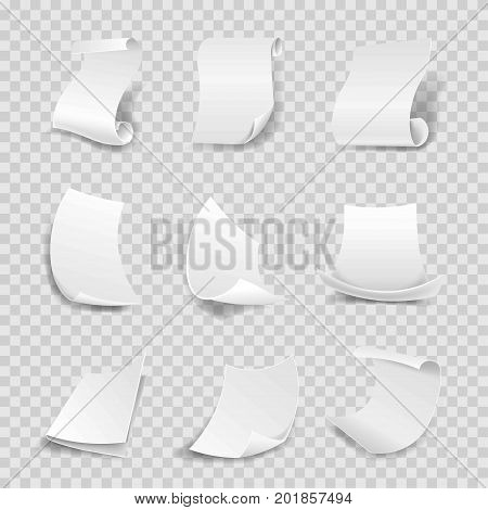 White paper sheets 3D with corner flip and rolled sides. Manuscript roll or parchment with curved side, flipped paper page corner with shadow. Vector isolated icons set on transparent background