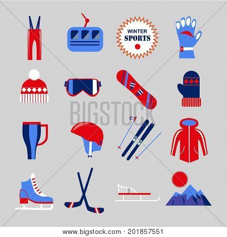 Winter sports clothing and sportswear equipment for skiing or skating. Ski or skates and snowboard, skier glasses and hockey sticks, cable car in mountain, safety helmet or mittens. Vector flat icons