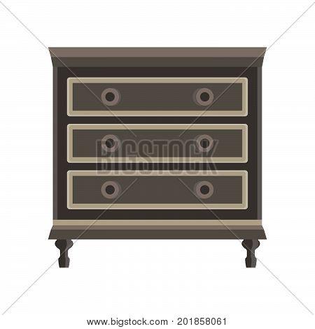 Drawer dresser vector room wardrobe cartoon isolated flat icon design cupboard decor dress home furniture