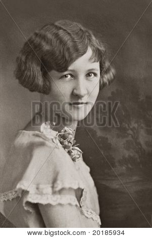 Vintage Young Woman with Corsage